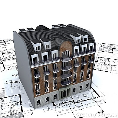 Free Residential Building On Plans Royalty Free Stock Photos - 2900018