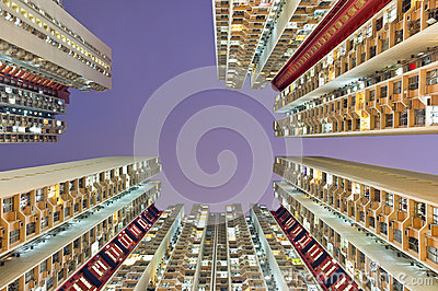 Residential buildings in hong kong from low angle