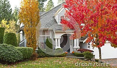 Residential Home during Fall Season