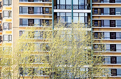 Residential homes in spring