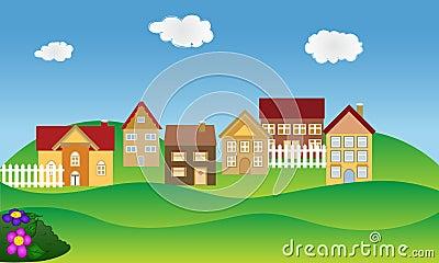 Residential neighborhood in spring