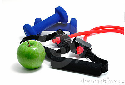 Resistance Band, Blue Weights and Green Apple
