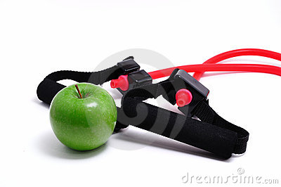 Resistance Band and Green Apple