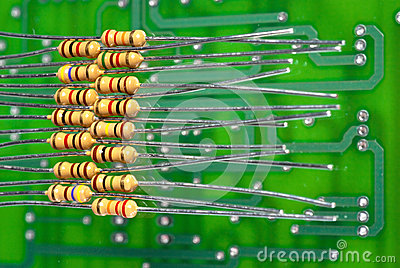 Resistors of different resistance over a PC Board