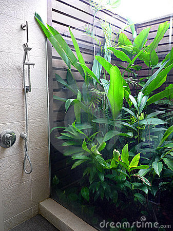 Free Resort Bathroom Shower Semi Outdoors Royalty Free Stock Photography - 11061387