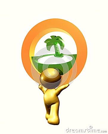 Resort beach icon symbol