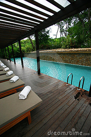 Free Resort Hotel Swimming Pool, Tropical Landscaping Stock Photography - 5393762