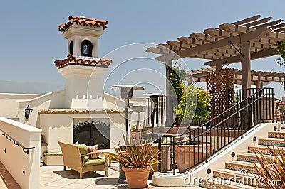 Resort patio fireplace