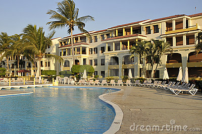 Resort pool and hotel
