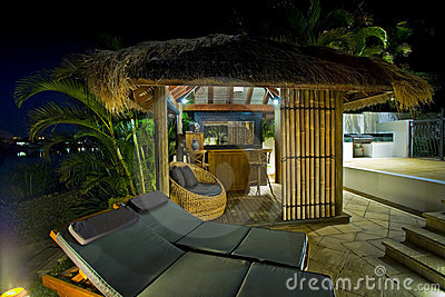 Resort style living with Bali hut with bar and dec
