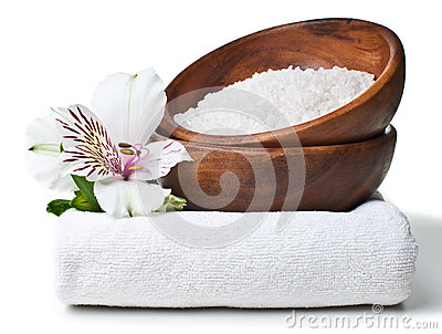 Resources for spa, white towel, aromatic salt