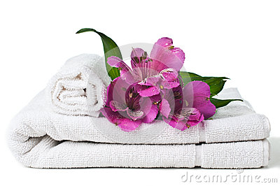 Resources for spa, white towel and flower