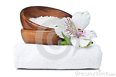 Resources for spa, white towel, and flowers