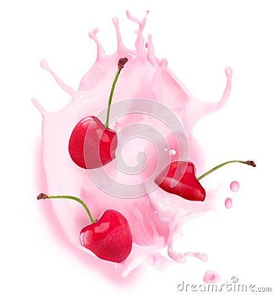 Respingo do leite com cereja