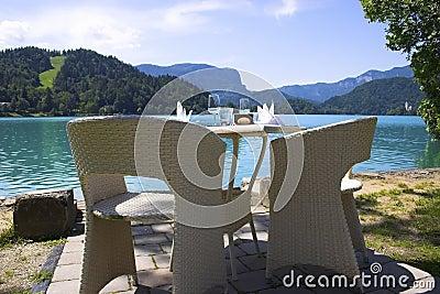Rest area on the European mountains lake