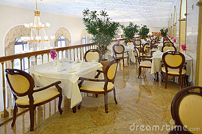 Restaurant at balcony in Hotel Ukraine Editorial Photography