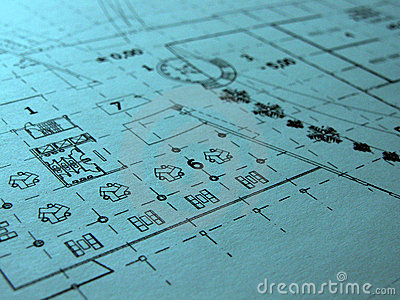 Restaurant blue prints Stock Photo