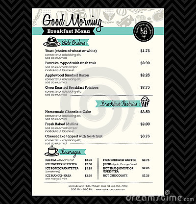 Free Restaurant Breakfast Menu Design Template Layout Royalty Free Stock Photography - 43664927