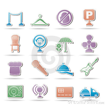 Restaurant, cafe, bar and night club icons