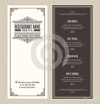 Restaurant or cafe menu design template with vintage retro art deco frame Vector Illustration