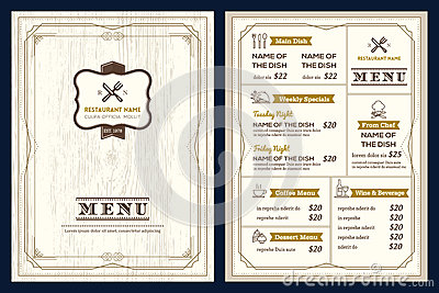 Restaurant or cafe menu design template with vintage retro frame Vector Illustration