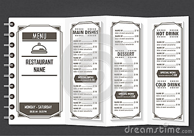 Restaurant Design Menu Stock Illustration - Image: 59912015