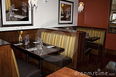 Restaurant dining booth tables