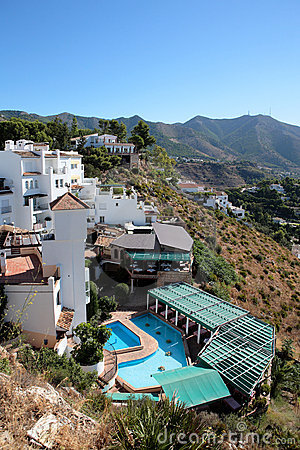 Free Restaurant, Houses And Swimming Pool In Spain Stock Image - 1154651