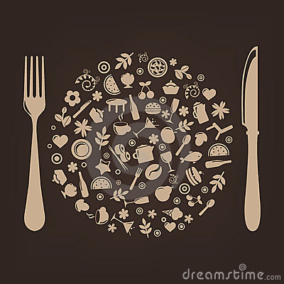 Free Restaurant Icons In Form Of Sphere. Vector Royalty Free Stock Photo - 16935755