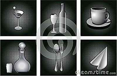 Restaurant icons set.