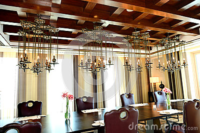 The restaurant interior of luxury hotel