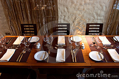 Restaurant interior with served table