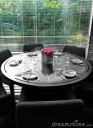 Restaurant interior, table, with garden view