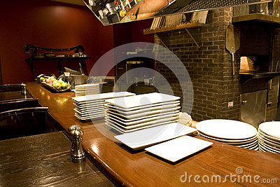 Restaurant kichen counter plates