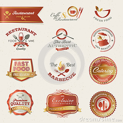 Free Restaurant Labels And Elements Royalty Free Stock Photo - 24917765