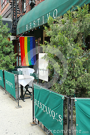 Restaurant in Manhattan welcomes customers of 43rd  annual  Pride Parade Editorial Stock Image