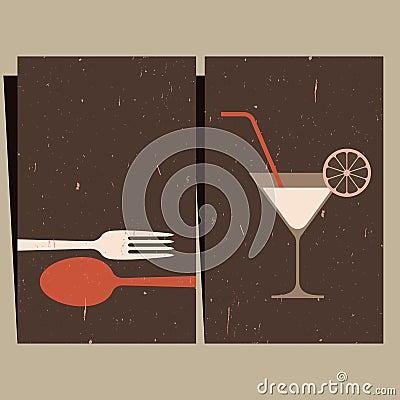 Restaurant Design on Restaurant Menu Design  Illustration Of Cocktail Glass And Cutlery