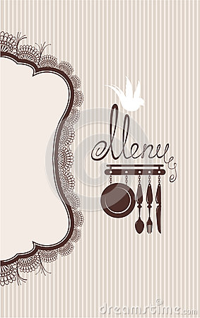 Restaurant menu design with lace table napkin and