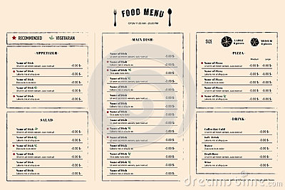 Restaurant Lunch Menu Design Template Layout Stock Vector - Image ...
