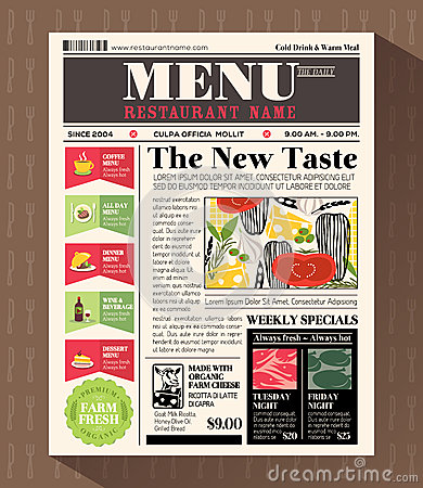 Restaurant Menu Design Template In Newspaper Style Stock