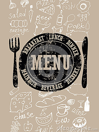 Restaurant menu design. Typographical retro poster with stamp and hand-drawn food. Vector illustration. Vector Illustration
