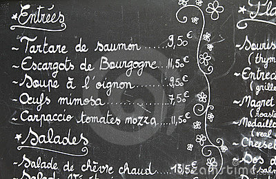 Restaurant menu in French