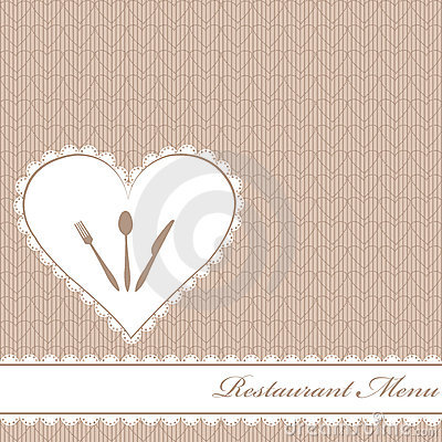 Restaurant menu with hearts