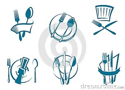 Restaurant menu icons and symbols