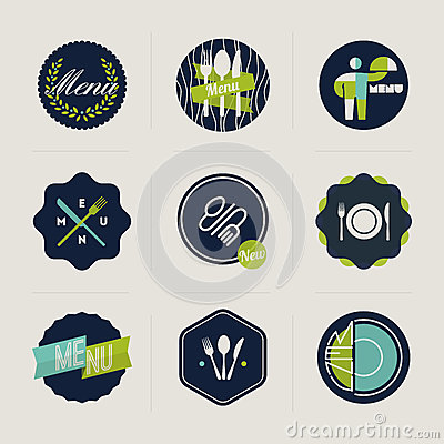 Restaurant menu labels. Set of vector designs