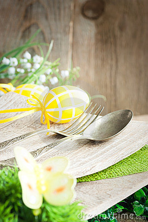Restaurant menu series. Easter place setting.
