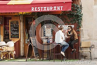 Restaurant  in Paris Editorial Photo