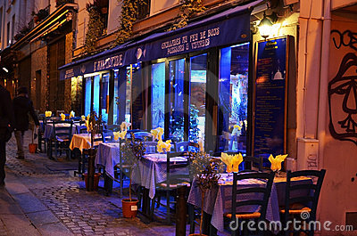 Restaurant in Paris by night Editorial Photography