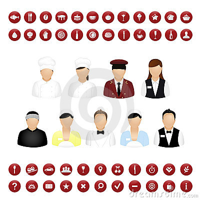 Restaurant People And Map Icons Set. Vector
