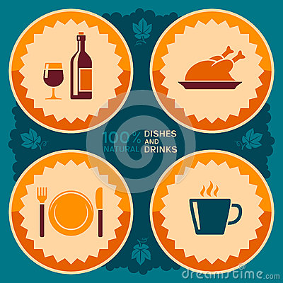 Restaurant poster design with food and drink icons